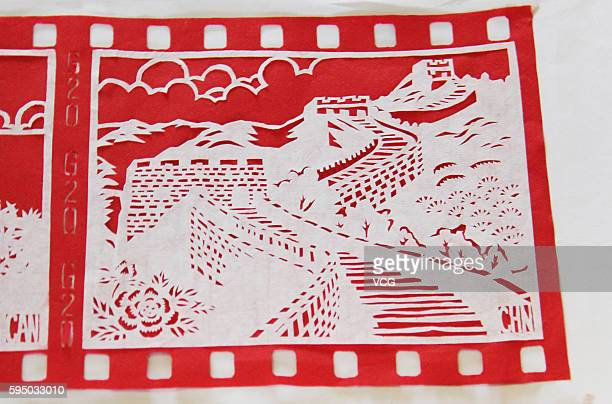 Image shows the paper cut of Great Wall on August 25 2016 in Tonglu County Hangzhou City Zhejiang Province of China Fuchunjiang Middle School teacher...