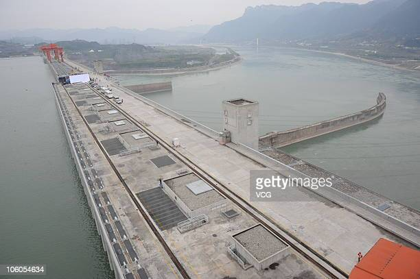 Image shows the Three Gorges Dam and the reservoir after the water level reached 175 meters its designed maximum on October 26 2010 in Yichang Hubei...