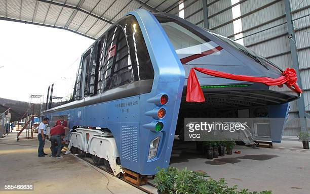 Image shows the transit elevated bus TEB1 on August 3 2016 in Qinhuangdao Hebei Province of China The 22meterlong 78meterwide and 48metertall China's...
