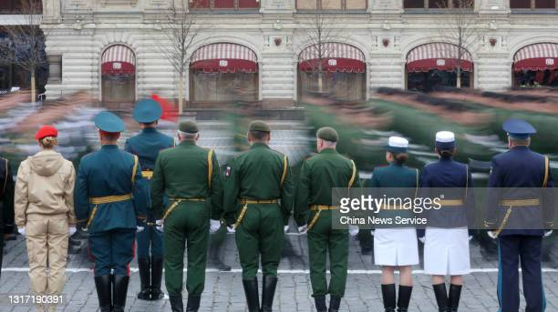 Image shows the Victory Day military parade marking the 76th anniversary of Soviet victory over Nazi Germany in World War II, in Moscow's Red Square...
