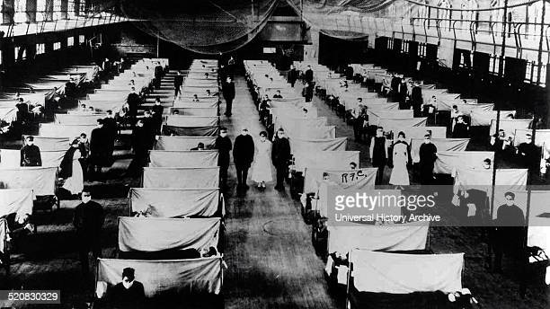 Image shows warehouses that were converted to keep the infected people quarantined. The patients are suffering from the 1918 Influenza pandemic, a...