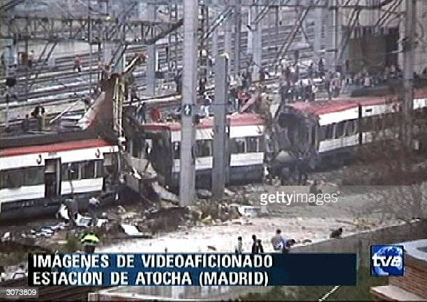 Image taken form Spanish channel TVE showing the carriage after a bomb blast at Madrid Atocha train station 11 March 2004 At least 15 people were...