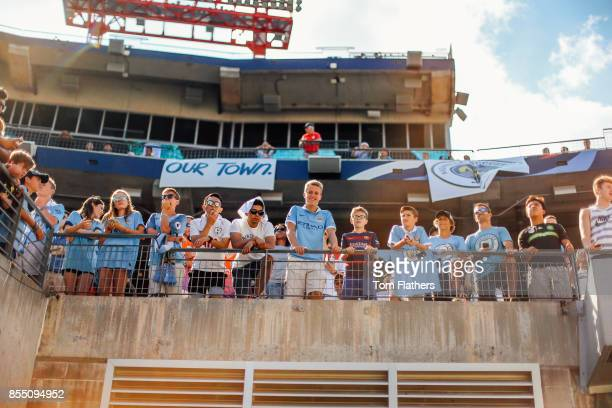 Image was altered with digital filters Manchester City fans prior to the match at Nissan Stadium on July 29 2017 in Nashville Tennessee