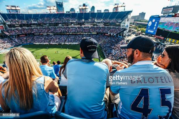 Image was altered with digital filters.) Manchester City fans watch the match at Nissan Stadium on July 29, 2017 in Nashville, Tennessee.