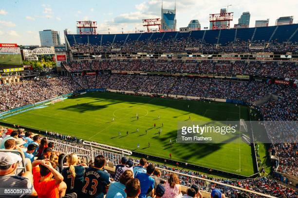 Image was altered with digital filters Manchester City in action against Tottenham Hotspur at Nissan Stadium on July 29 2017 in Nashville Tennessee