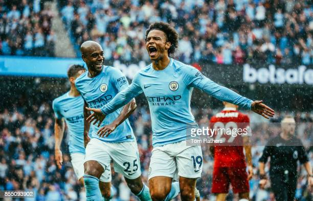 Image was altered with digital filters Manchester City's Leroy Sane celebrates scoring to make it 50 during the Premier League match between...