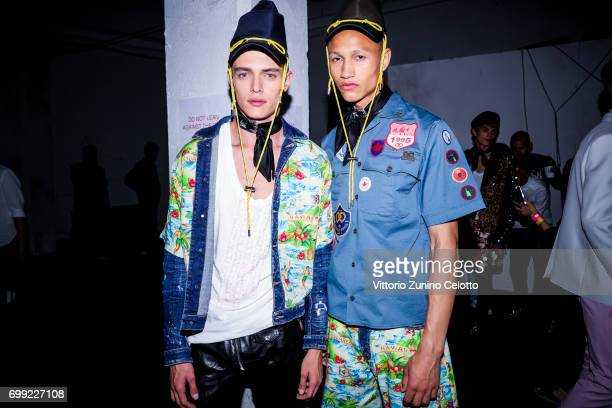 Image was altered with digital filters Models are seen backstage ahead of the Dsquared2 show during Milan Men's Fashion Week Spring/Summer 2018on...