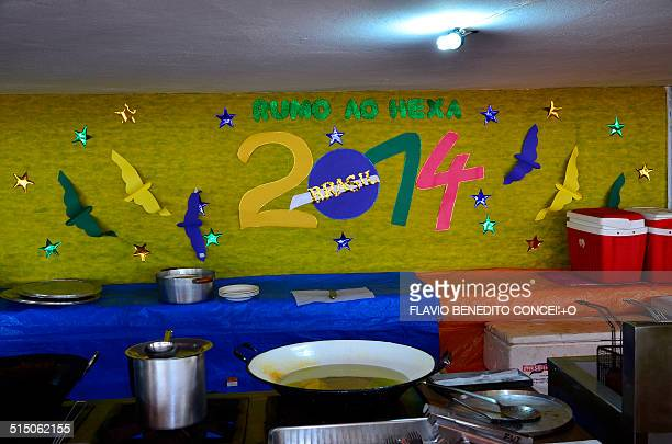 Image with decorations in the restaurant during preparaticos for the football World Cup 2014 in Brazil.