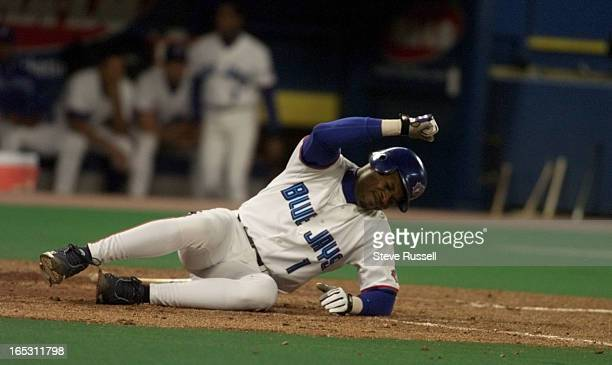 IMAGEBlue Jays third baseman Tony Fernandez reacts after being hit in the leg by a pitch vs Cleveland Indians in Toronto Friday September 24 1999