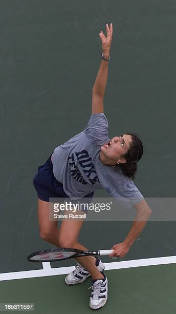 IMAGECanadian Vanessa Webb of Toronto winds up for a serve during practice for the qualifying tournament for the du Maurier Open at the National...