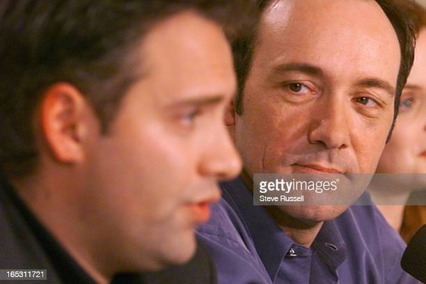 IMAGEKevin Spacey listens to director Sam Mendes speak during the 'American Beauty' press conference during FilmFest in Toronto Saturday September 11...