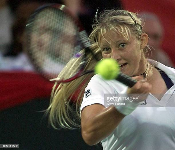 IMAGEMirjana Lucic of Croatia fires a shot during third round action at the du Maurier Open in Toronto Thursday August 19 1999