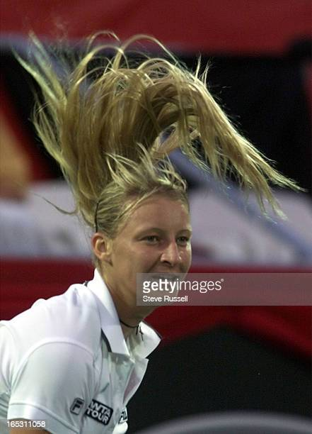 IMAGEMirjana Lucic of Croatia's hair is in a tussle after serving during third round action at the du Maurier Open in Toronto Thursday August 19 1999