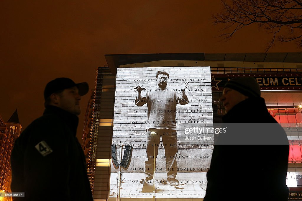 Images and quotes by Chinese artist and activist Ai Weiwei are seen projected on a 74-foot-tall marble First Amendment tablet on the exterior of the Newseum on January 17, 2013 in Washington, DC. The exhibit runs 7 p.m. each night through January 17.