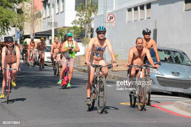 *Images contain Nudity*CAPE TOWN SOUTH AFRICA MARCH 11 Participants during the World Naked Bike Ride on March 11 2017 in Cape Town South Africa The...