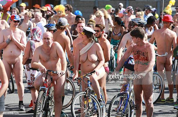 *Images contain Nudity*CAPE TOWN SOUTH AFRICA MARCH 7 Participants dressed up with fun accessories during the World Naked Bike Ride on March 7 2015...