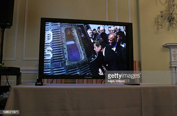 Images from the John F Kennedy archive website are shown on a monitor during an event to unveil US President John F Kennedy's online archive at the...