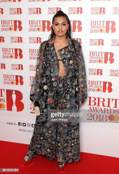 Images from this event are only to be used in relation to this event Mabel McVey attends The BRIT Awards 2018 nominations photocall held at ITV...