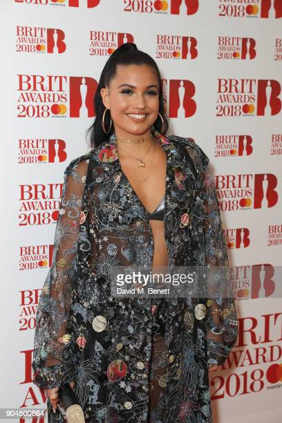 Images from this event are only to be used in relation to this event Mabel attends the BRIT Awards 2018 nominations at ITV Studios on January 13 2018...