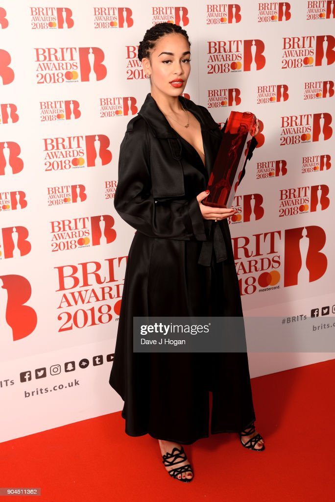 Images from this event are only to be used in relation to this event. CriticsÕ Choice Award winner, Jorja Smith attends The BRIT Awards 2018 nominations photocall held at ITV Studios on January 13, 2018 in London, England.