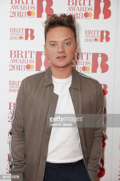 Images from this event are only to be used in relation to this event Conor Maynard attends the BRIT Awards 2018 nominations at ITV Studios on January...