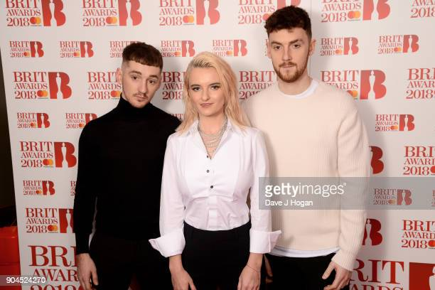 Images from this event are only to be used in relation to this event Luke Patterson Grace Chatto and Jack Patterson of Clean Bandit attend The BRIT...