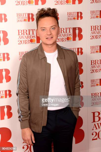 Images from this event are only to be used in relation to this event Conor Maynard attends The BRIT Awards 2018 nominations photocall held at ITV...