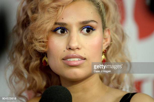 Images from this event are only to be used in relation to this event Raye attends The BRIT Awards 2018 nominations photocall held at ITV Studios on...