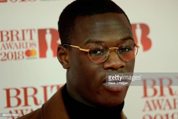 Images from this event are only to be used in relation to this event J Hus attends The BRIT Awards 2018 nominations photocall held at ITV Studios on...