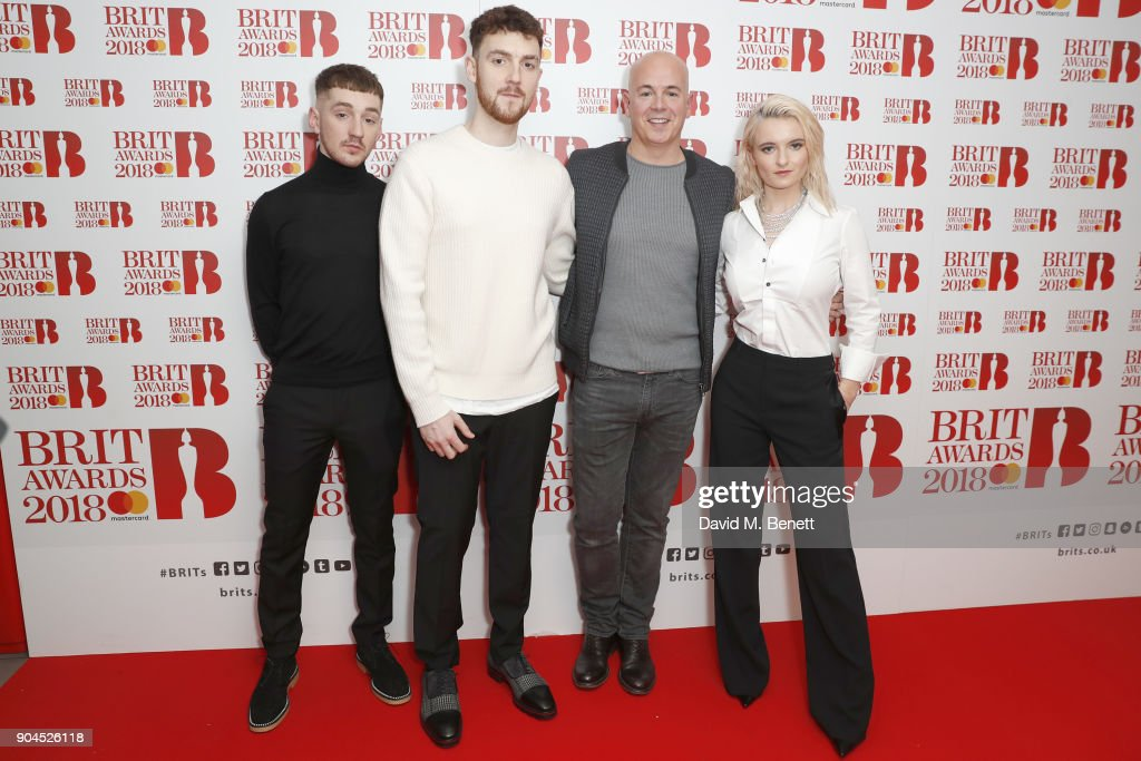 Images from this event are only to be used in relation to this event. (L-R) Jack Patterson, Grace Chatto, Steve Mac and Luke Patterson attend the BRIT Awards 2018 nominations at ITV Studios on January 13, 2018 in London, England.