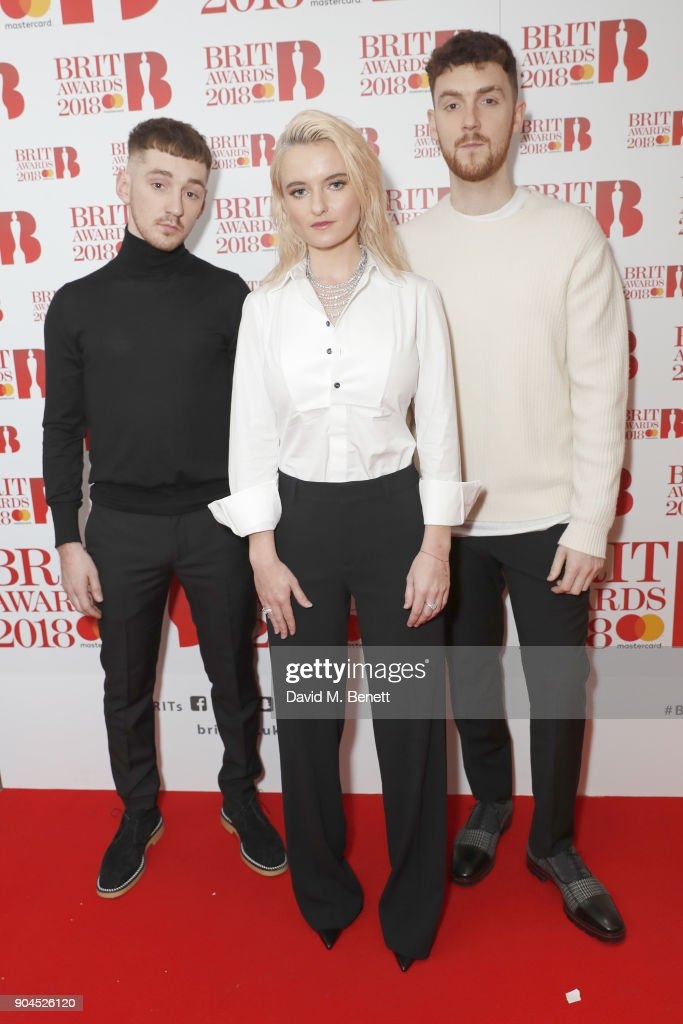 Images from this event are only to be used in relation to this event. (L-R) Jack Patterson, Grace Chatto and Luke Patterson of electronic music group 'Clean Bandit' attend the BRIT Awards 2018 nominations at ITV Studios on January 13, 2018 in London, England.