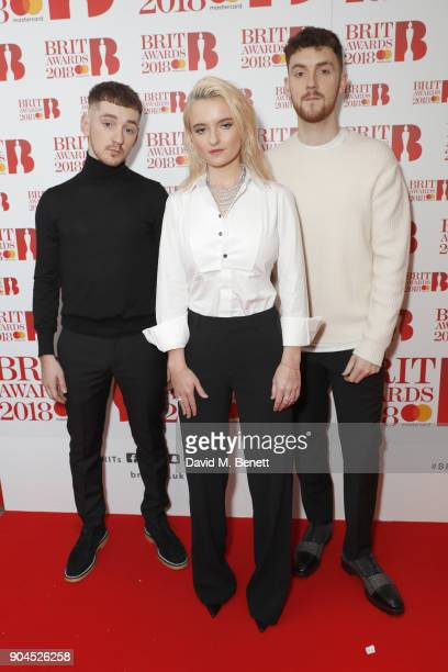 Images from this event are only to be used in relation to this event Clean Bandit attend the BRIT Awards 2018 nominations at ITV Studios on January...