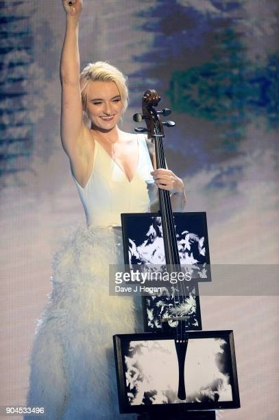 Images from this event are only to be used in relation to this event Grace Chatto of Clean Bandit performs at The BRIT Awards 2018 nominations held...