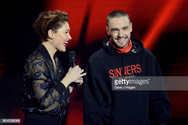 Images from this event are only to be used in relation to this event Host Emma Willis and Liam Payne on stage at The BRIT Awards 2018 nominations...
