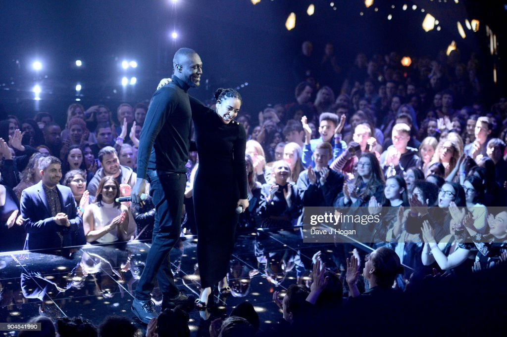 Images from this event are only to be used in relation to this event. Stormzy (L) and Jorja Smith perform at The BRIT Awards 2018 nominations held at ITV Studios on January 13, 2018 in London, England.