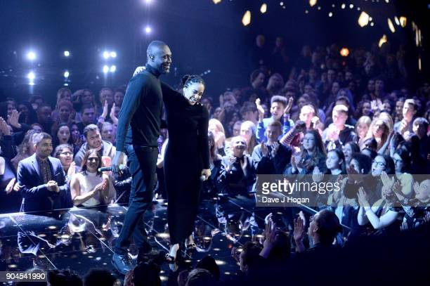EDITOR'S NOTE Images from this event are only to be used in relation to this event Stormzy and Jorja Smith perform at The BRIT Awards 2018...