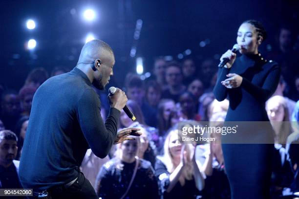Images from this event are only to be used in relation to this event Stormzy and Jorja Smith perform at The BRIT Awards 2018 nominations held at ITV...