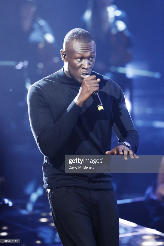 Images from this event are only to be used in relation to this event. Stormzy performs at the BRIT Awards 2018 nominations at ITV Studios on January 13, 2018 in London, England.