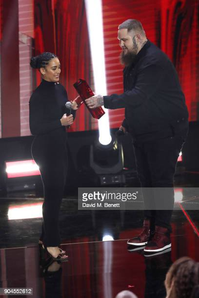 Images from this event are only to be used in relation to this event Jorja Smith and Rag'n'Bone Man perform at the BRIT Awards 2018 nominations at...