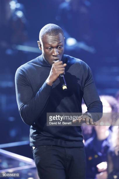 Images from this event are only to be used in relation to this event Stormzy performs at the BRIT Awards 2018 nominations at ITV Studios on January...