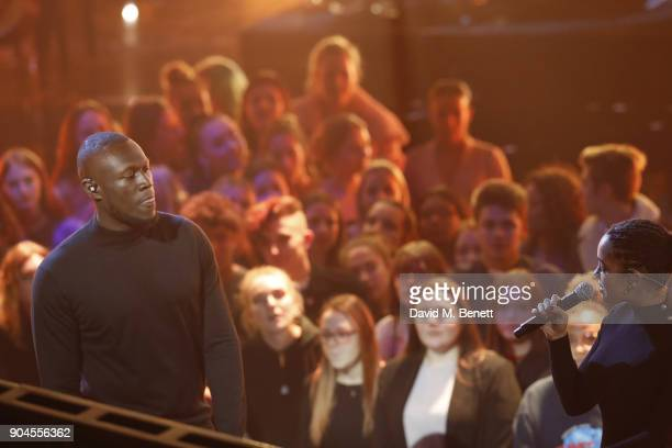 Images from this event are only to be used in relation to this event Stormzy and Jorja Smith perform at the BRIT Awards 2018 nominations at ITV...