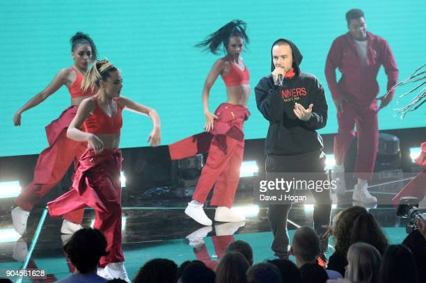 Images from this event are only to be used in relation to this event Liam Payne performs at the BRIT Awards 2018 nominations at ITV Studios on...