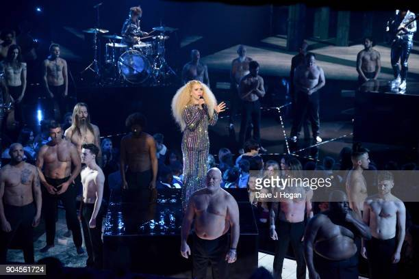 Images from this event are only to be used in relation to this event Paloma Faith performs at the BRIT Awards 2018 nominations at ITV Studios on...
