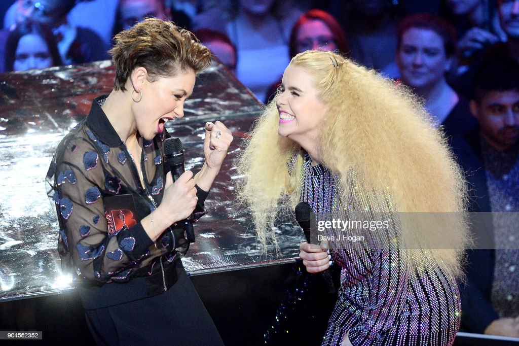 Images from this event are only to be used in relation to this event. Host Emma Willis (L) and Paloma Faith speak on stage at the BRIT Awards 2018 nominations at ITV Studios on January 13, 2018 in London, England.