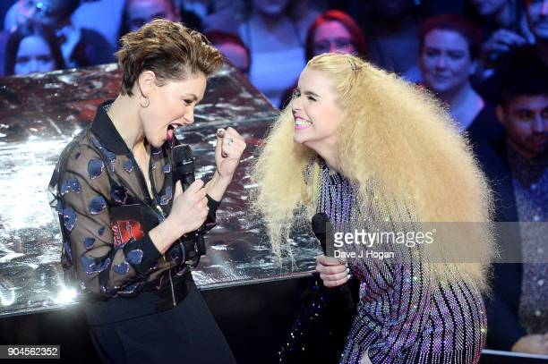 Images from this event are only to be used in relation to this event Host Emma Willis and Paloma Faith speak on stage at the BRIT Awards 2018...