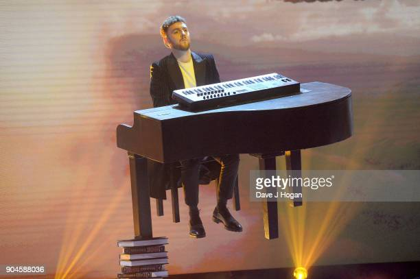 Images from this event are only to be used in relation to this event Jack Patterson of Clean Bandit performs at the BRIT Awards 2018 nominations at...
