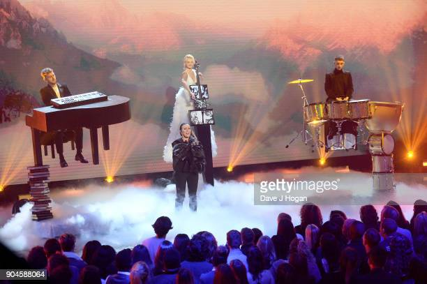 Images from this event are only to be used in relation to this event Clean Bandit perform at the BRIT Awards 2018 nominations at ITV Studios on...