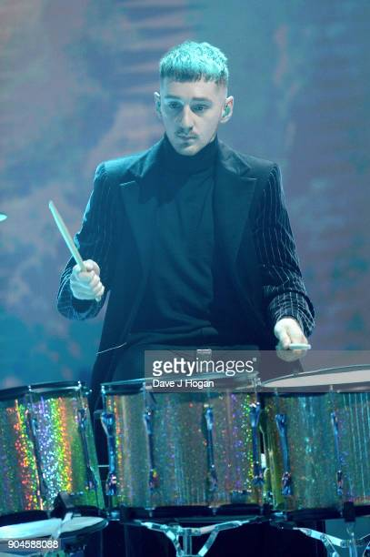 Images from this event are only to be used in relation to this event Luke Patterson of Clean Bandit performs at the BRIT Awards 2018 nominations at...