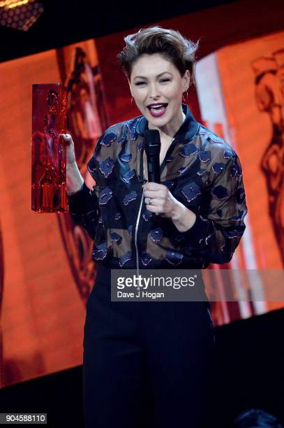 Images from this event are only to be used in relation to this event Emma Willis speaks on stage at the BRIT Awards 2018 nominations at ITV Studios...