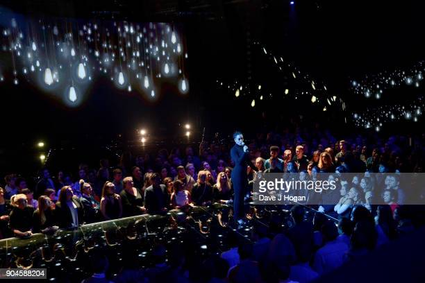 Images from this event are only to be used in relation to this event Jorja Smith performs at the BRIT Awards 2018 nominations at ITV Studios on...